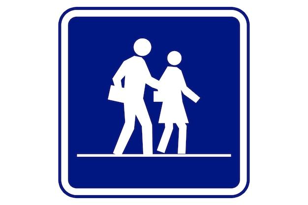 Illustration du signe de la zone scolaire sur fond bleu.