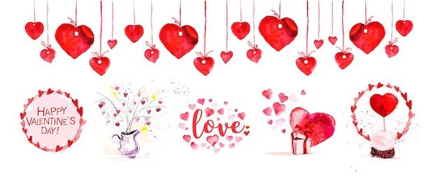 Illustration des éléments et symboles de l'amour artistique aquarelle. signe dessiné à la main de couleur rouge en forme de coeur isolé sur fond blanc.