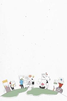 Illustration d'entreprise doodle coloré de travail d'équipe dessiné à la main