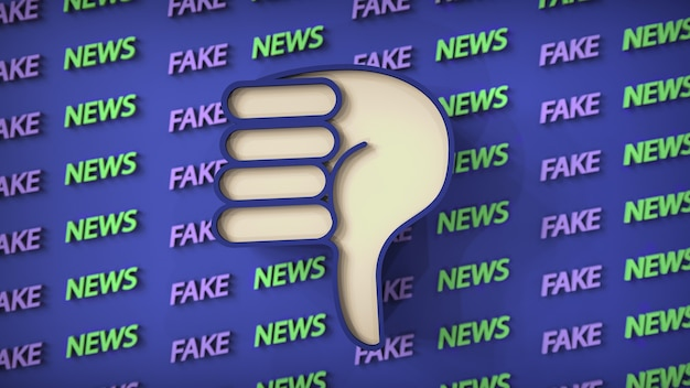 Illustration de fausses nouvelles en arrière-plan avec une icône de pouce vers le bas