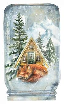 Illustration d'un fond d'hiver dans une forêt de boules de neige maisons de campagne neige animaux sauvages