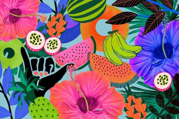 Illustration de fond motif tropical coloré