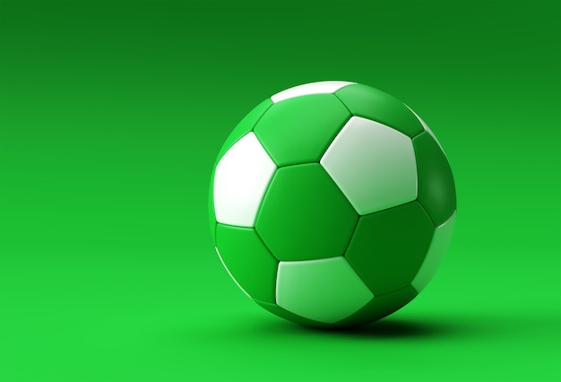 Illustration de football de rendu 3d, ballon de football avec fond vert