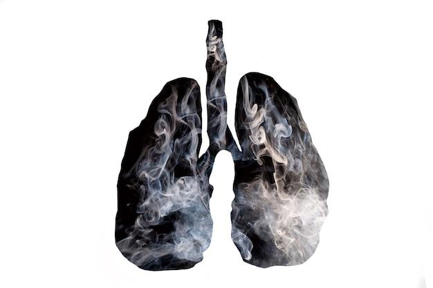 Illustration d'une formation de fumée toxique en forme de poumon humain