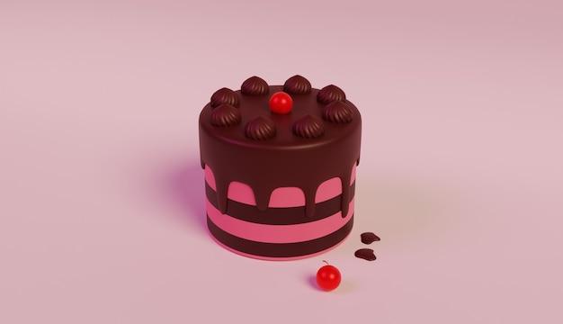 Illustration de gâteau d'anniversaire rose conception 3d avec cerise sur le dessus