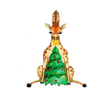 Illustration de la girafe. impression de nouvel an. arbre