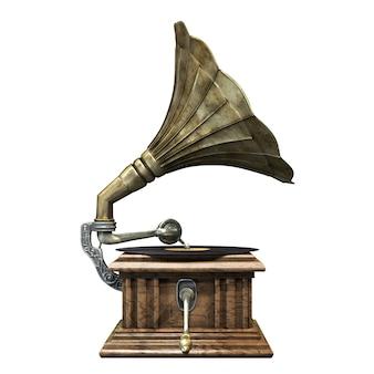 D illustration de gramophone vintage et classique isolé sur fond blanc