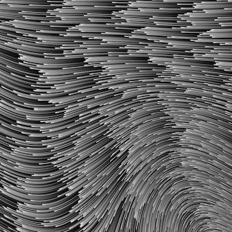 Illustration grise avec des lignes. ligne de vitesse monochrome ou fond abstrait de mouvement de vent. vagues d'énergie rougeoyante sur fond sombre, motif de demi-teintes numériques