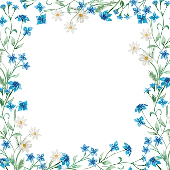 Illustration de guirlande florale de fleurs sauvages d'été aquarelle dessinée à la main