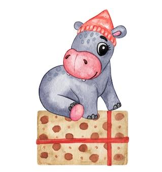 Illustration d'hippopotame aquarelle dessinés à la main, ensemble de joyeux noël, animaux mignons en chapeau de noël