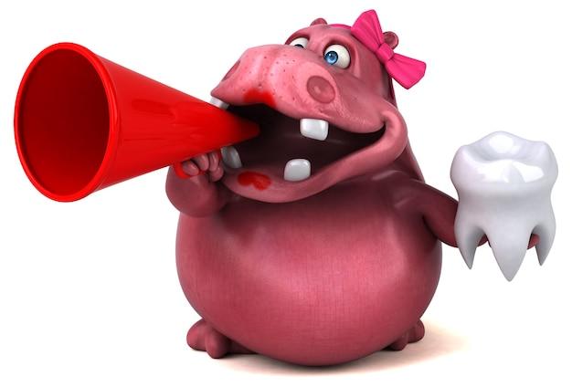Illustration de l'hippopotame rose