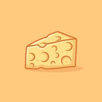 Illustration d'icône de dessin animé de vecteur de fromage