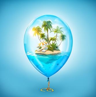 Illustration inhabituelle d'une île tropicale fantastique avec des palmiers et des chaises longues dans l'océan à l'intérieur du ballon à air gonflable