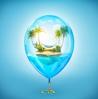 Illustration inhabituelle d'une île tropicale fantastique avec des palmiers et un hamac dans l'océan à l'intérieur d'une montgolfière gonflable