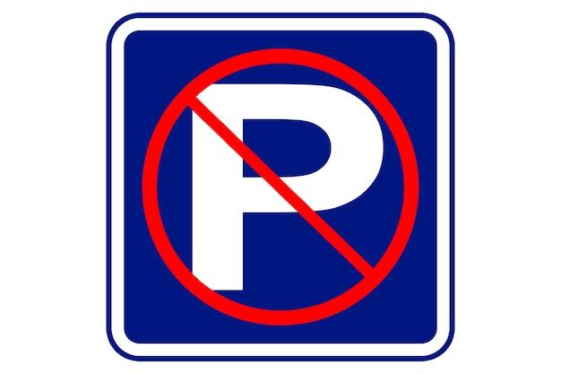 Illustration d'interdiction de stationnement sur fond bleu.