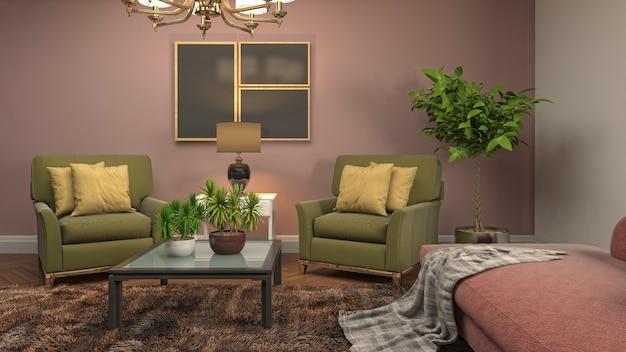 Illustration de l'intérieur du salon