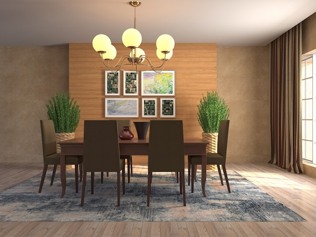 Illustration de l'intérieur de la salle à manger