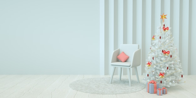 Illustration intérieure minimale de noël avec arbre de noël et chaise de rendu 3d
