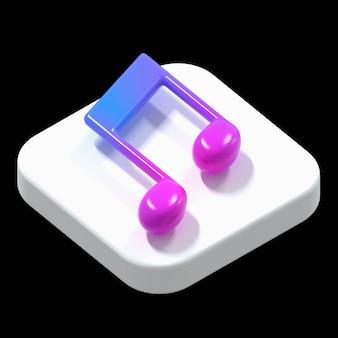Illustration isométrique de l'application musicale en 3d