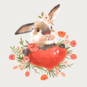 Illustration de lapin mignon avec coeur et fleurs
