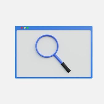Illustration de la loupe 3d sur le site web sur fond blanc