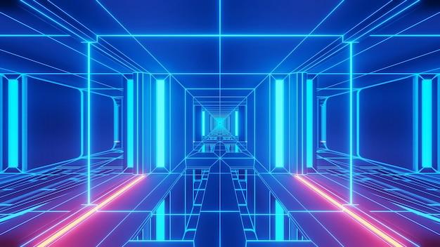 Illustration de lumières bleues dans des formes rectangulaires s'écoulant dans une direction