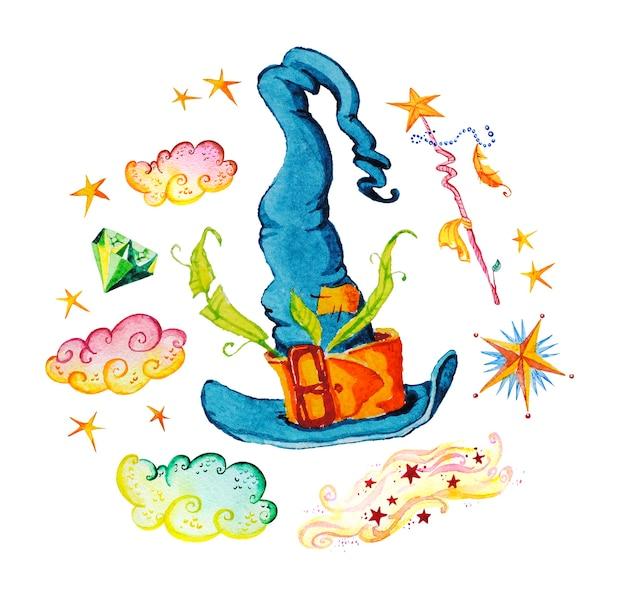 Illustration magique artistique avec des éléments artistiques dessinés à la main isolés sur fond blanc - chapeau, baguette magique, étoiles, fumée.
