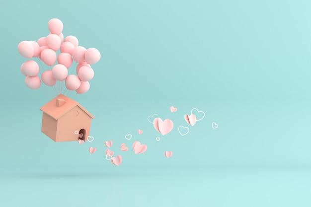 Illustration de la maison flottante de ballons avec des coeurs en papier