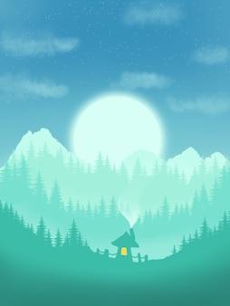 Illustration de la maison de la forêt verte de beaux paysages