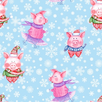 Illustration de modèle sans couture de bonne année 2019 et de noël avec des cochons drôles dessinés à la main à l'aquarelle dans des vêtements tricotés sur fond bleu avec des flocons de neige. imprimer pour l'emballage cadeau, cartes de voeux.