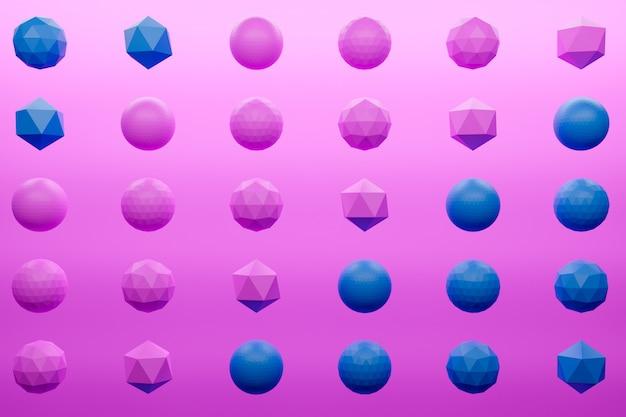 Illustration monochrome monochrome rose et bleu. formes géométriques simples d'affilée.