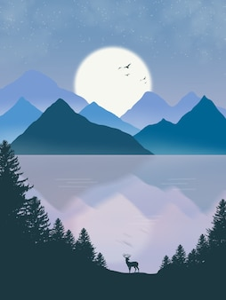 Illustration de montagne de reflets de beaux paysages