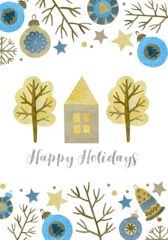 Illustration de noël aquarelle carte de voeux de bonne année nouvel an