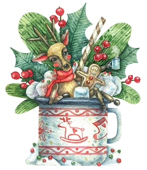 Illustration De Noël Avec Un Cerf Mignon Se Reposant Et S'amusant à Célébrer Les Vacances Photo Premium