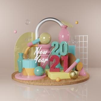 Illustration de nouvel an avec composition de rendu d'image d'objet abstrait