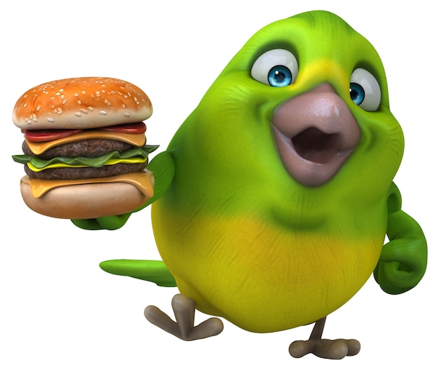 Illustration d'oiseau vert amusant