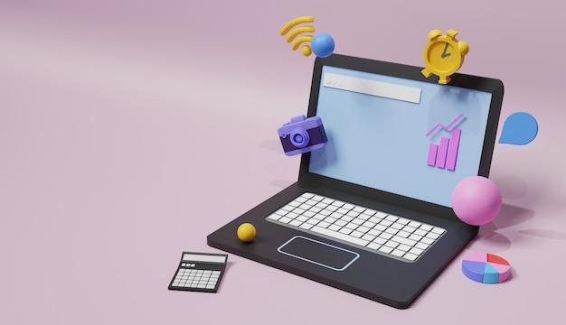 Illustration d'ordinateur portable conception 3d concept d'entreprise de médias sociaux