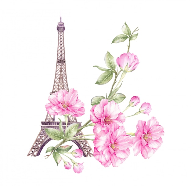 Illustration de paris de printemps.