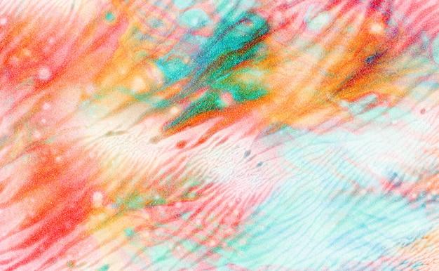 Illustration de peinture acrylique: taches spectaculaires de rouge, orange, bleu et vert.