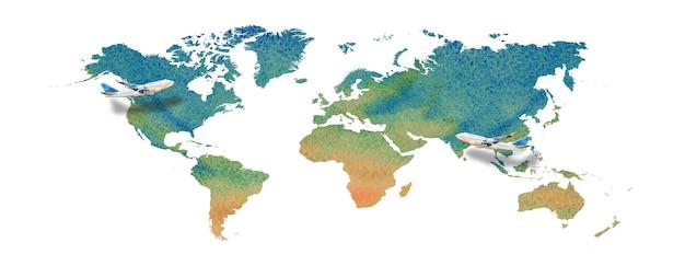 Illustration de peinture à l'aquarelle de la carte du monde