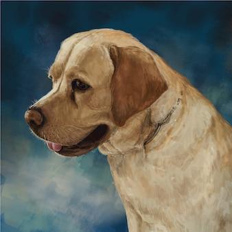Illustration peinture du chien, style art numérique animal domestique dessiné à la main