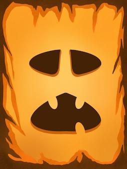 Illustration peinture numérique halloween visage unique citrouille