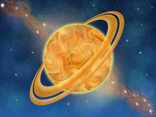 Illustration de la peinture numérique planète jaune