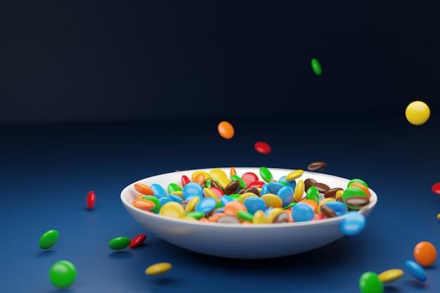 Illustration de petites assiettes en verre avec des gommes à mâcher colorées sur fond bleu