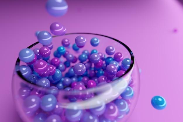 Illustration de petites assiettes en verre avec des gommes à mâcher colorées sur fond rose