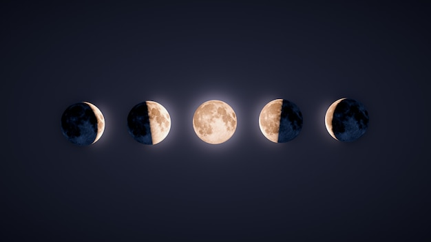 Illustration des phases lunaires rétro-éclairées sur fond sombre