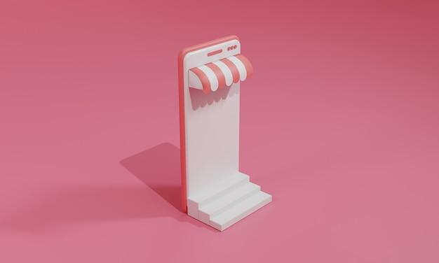 Illustration plate de rendu 3d boutique en ligne sur l'application mobile du smartphone. illustration premium