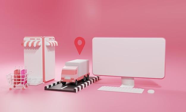 Illustration plate de rendu 3d boutique en ligne sur application mobile et expédition de fret par camion d'ordinateur et de smartphone. illustration premium