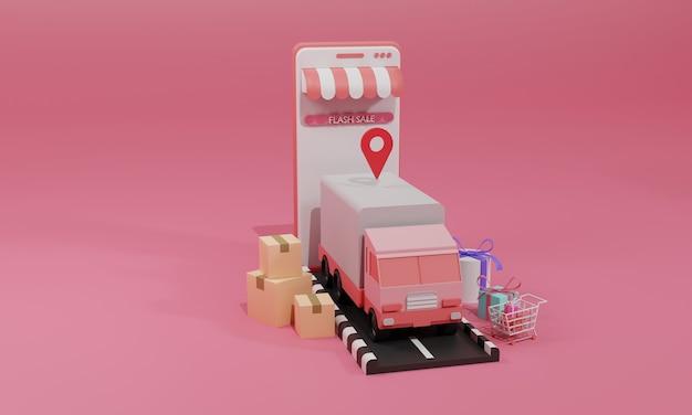 Illustration plate de rendu 3d boutique en ligne sur application mobile et expédition de fret par camion de smartphone. illustration premium