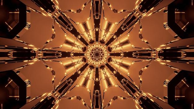 Illustration de plusieurs lumières dorées et brunes en mouvement s'écoulant dans une direction
